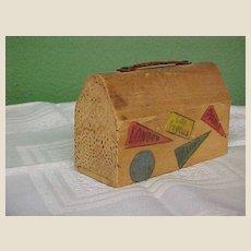 Folksy Wooden Souvenir Suitcase Bank