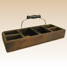 Old Primitive Divided Wooden Tote/Tray