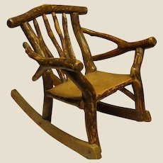 Rustic Homemade Child's Adirondack Branch Rocking Chair
