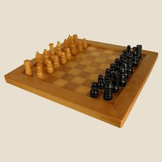 Small Homemade Chess Board with Wooden Playing Pieces