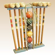Colorful Old Croquet Set with all Pieces