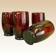 Set of 4 Ruby Red Tumblers Glasses