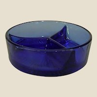 Cobalt Blue Depression Glass Divided Relish Tray