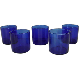 Set of Five Blue Short Tumblers or On-the-Rocks