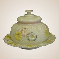 Antique Cosmos Pattern Glass Covered Butter Dish