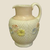 Antique Cosmos Pattern Glass Water Pitcher