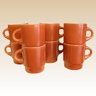 Rare 1950-60s Cinnamon Color Fire King Stackable Mugs