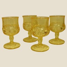 Beautiful Yellow/Topaz Indiana Glass Kings Crown Wine Goblets