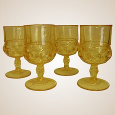 Beautiful Yellow/Topaz Indiana Glass Kings Crown Water Goblets