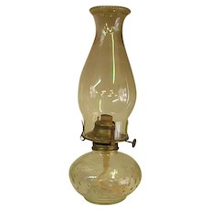Pressed Glass Oil Lamp with Chimney
