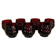 Set of Seven Anchor Hocking Ruby Red Bubble Glasses