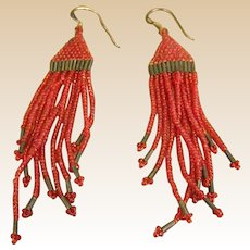 Native American Style Micro Beaded Dangle Earrings