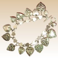 Romantic Vintage Sterling Puffy Heart Bracelet