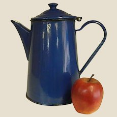Beautiful Old Peacock Blue Polish Enamel Coffee Pot