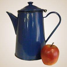 Beautiful Old Peacock Blue Polish Enamel Coffee Pot