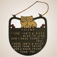 Adorable 1950s Kitty Friend Plaque