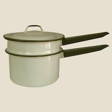 Green and White Enamelware Double Boiler with Lid
