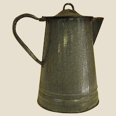 Well-loved Gray Granite Coffee Pot