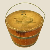 Charming Old Wooden Louisiana Strawberry Preserves Firkin Bucket with Lid