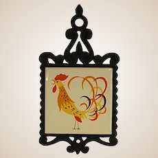 1950s Kitsch Wrought Iron and Tile Footed Trivet