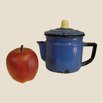 Well Loved Peacock Blue Two-Cup Enamel Coffee Pot