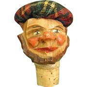 Carved Wood Bottle Stopper Man with Tam o' Shanter Anri Style