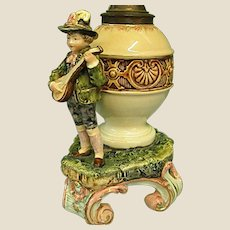 Charming Antique French Majolica Converted Oil Lamp