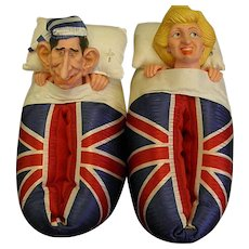 1980s Prince Charles and Princess Diana Vinyl Faced House Shoes
