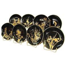 Vintage Set of Japanese Urushi Lacquerware Plates with Gold Makie Botanical Design