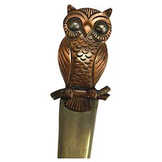 Wise Old Copper Owl Letter Opener