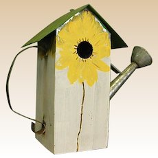 Galvanized Metal Watering Can Birdhouse