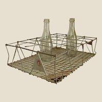 Old Galvanized Wire Bottle Carrier