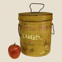 Country Decorated Metal Lidded Bucket