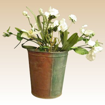Rustic Galvanized Florist Pail with Old Paint