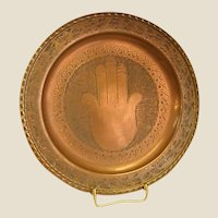 Hand Wrought Copper Tray with Hamsa Hand/Hand of God Design