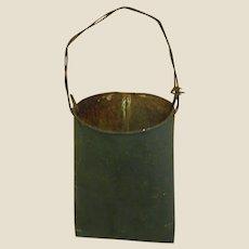 Old Hunter Green Painted Metal Hanging Bucket