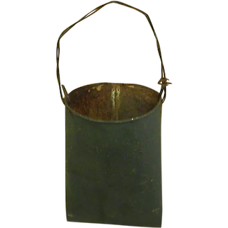 Old Hunter Green Painted Metal Hanging Bucket