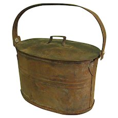Darling Little Oval Tin Ware Lunch Pail