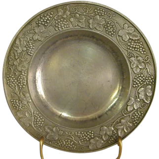 Heavily Embossed German Pewter Dish