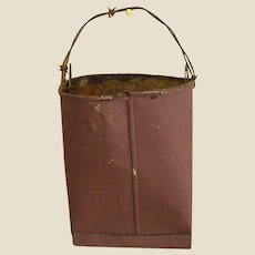 Old Berry Red Painted Metal Hanging Bucket