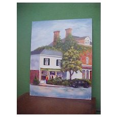 Folksy Impressionistic Old Town Square Painting