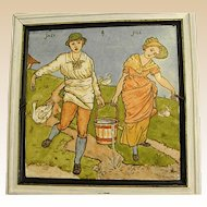 1870s Minton Hollins Nursery Rhyme Tile after Walter Crane Design