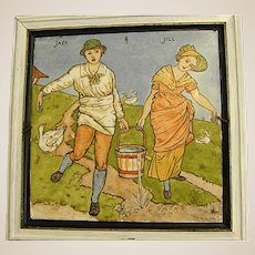 1870s Minton Hollins Nursery Rhyme Tile after Walter Crane Design
