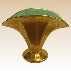 Gorgeous Pickard Fan Vase with Turquoise Interior