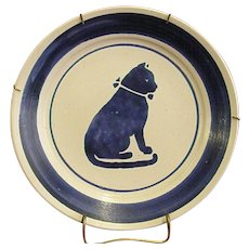 Whimsical Blue Cat on Pottery Plate