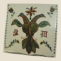 Country French Style Hand Painted Tile of Lovebirds
