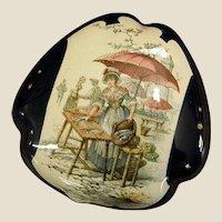 1800s H Boulenger French  Faience Vanity/Trinket Box