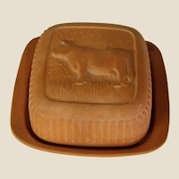 Wonderful Terra Cotta Covered Butter or Cheese Keeper with Cow Lid