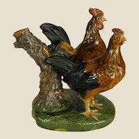 Unusual Portuguese Majolica Hen and Rooster Spill Vase