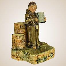 Majolica Smoking Set Jovial Monk with Mug of Spirits